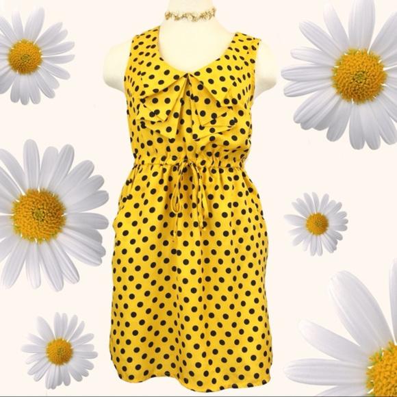 BeBop Dresses & Skirts - Yellow with Navy Polkadot Bebop Dress